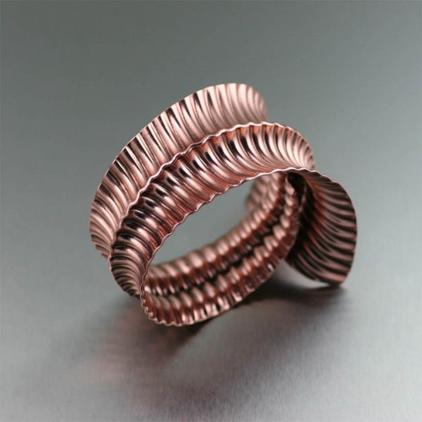 Copper Corrugated Fold Formed Bangle Bracelet
