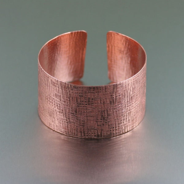 Copper Linen Cuff Bracelet – Flat Side View