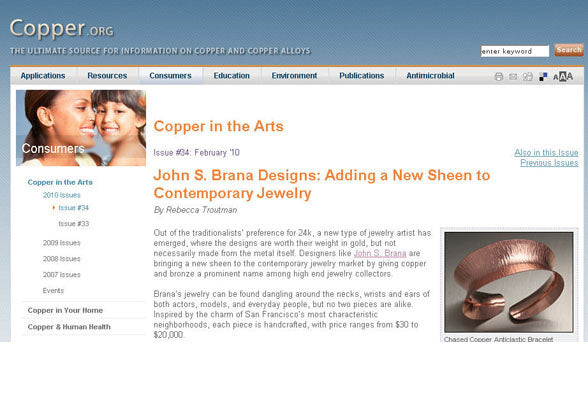Copper.org features Handmade Copper Jewelry by John S. Brana