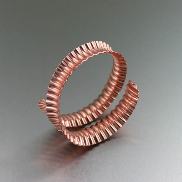 Corrugated Copper Bangle Bracelet