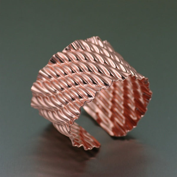 Corrugated Wave Copper Cuff Bracelet – Left View
