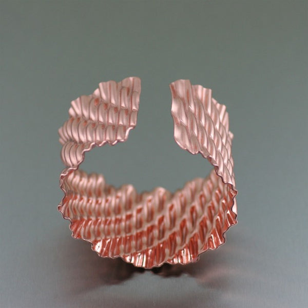 Corrugated Wave Copper Cuff Bracelet – Opening 2