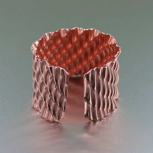 Corrugated Wave Copper Cuff Bracelet – Opening