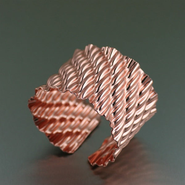 Corrugated Wave Copper Cuff Bracelet – Right View