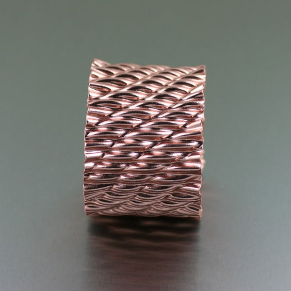 Corrugated Wave Copper Cuff Bracelet – Side View