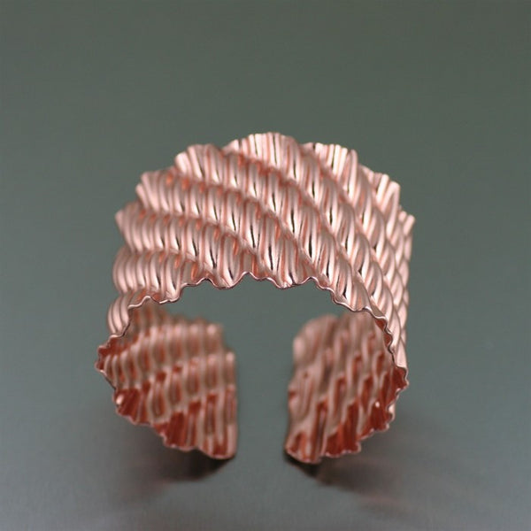 Corrugated Wave Copper Cuff Bracelet – Top View