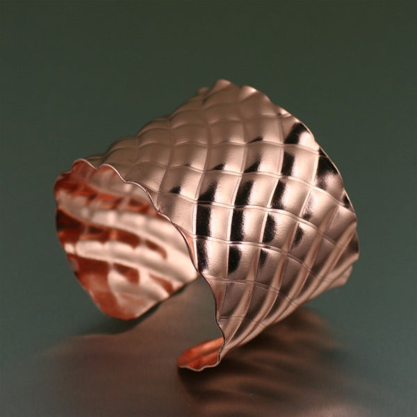 Crisscross Wave Copper Cuff Bracelet – Right Side View