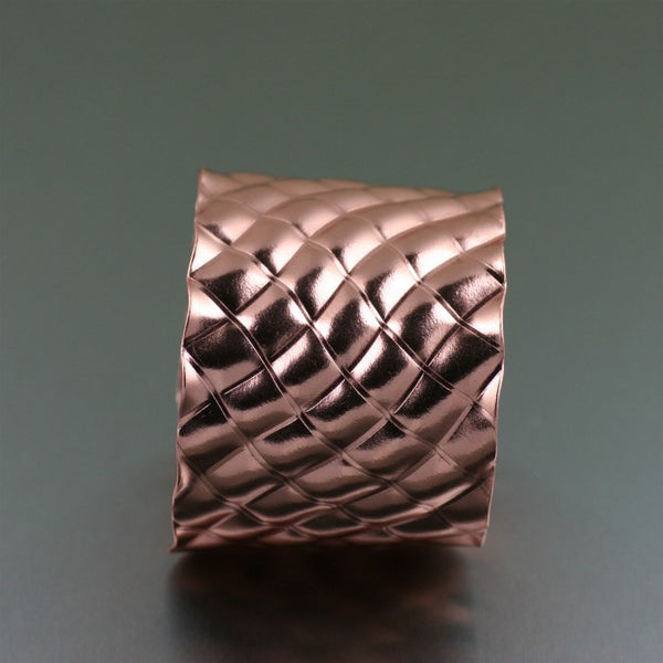 Crisscross Wave Copper Cuff Bracelet – Side View