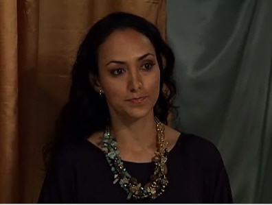 Daniela Torees wears African Green Opal Necklace by San Frnacisco jewelry designer John S Brana