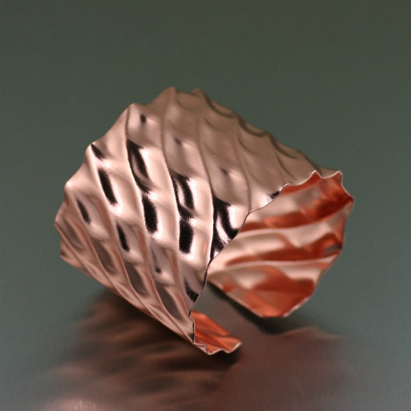 Double Wave Copper Cuff Bracelet – Left Side
