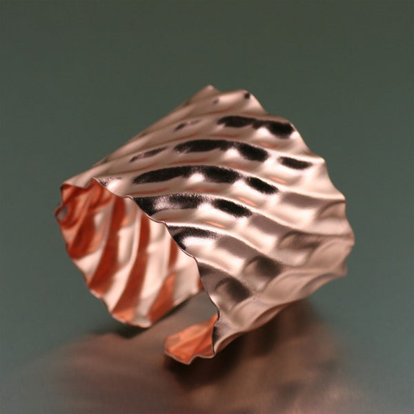 Double Wave Copper Cuff Bracelet – Right Side View