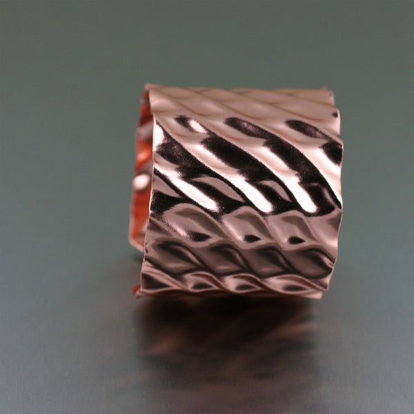 Double Wave Copper Cuff Bracelet – Side View 2