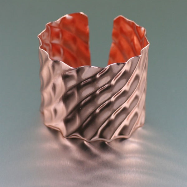 Double Wave Copper Cuff Bracelet – Side View