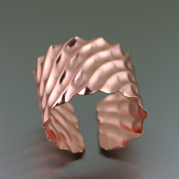 Double Wave Copper Cuff Bracelet – Top View