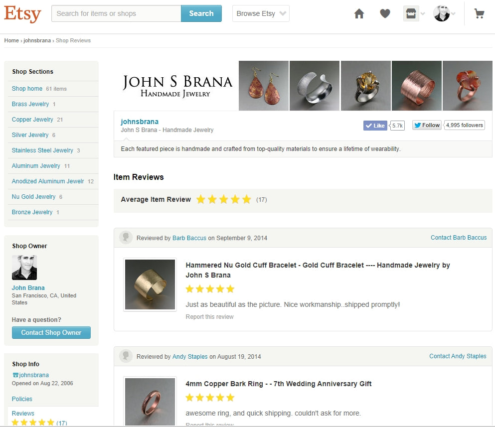 Click Here to Read Etsy Reviews for John S Brana - Handmade Jewelry