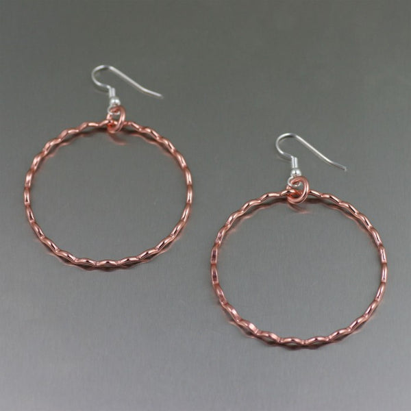 Fine Corrugated Copper Hoop Earrings