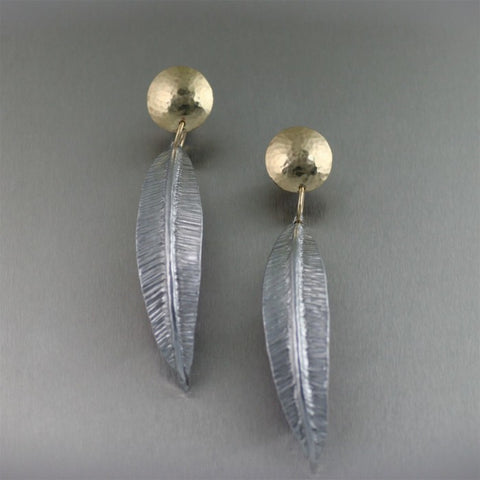 Fold Formed Aluminum Drop Leaf Earrings