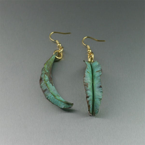 Fold Formed Apple Green Copper Leaf Earrings