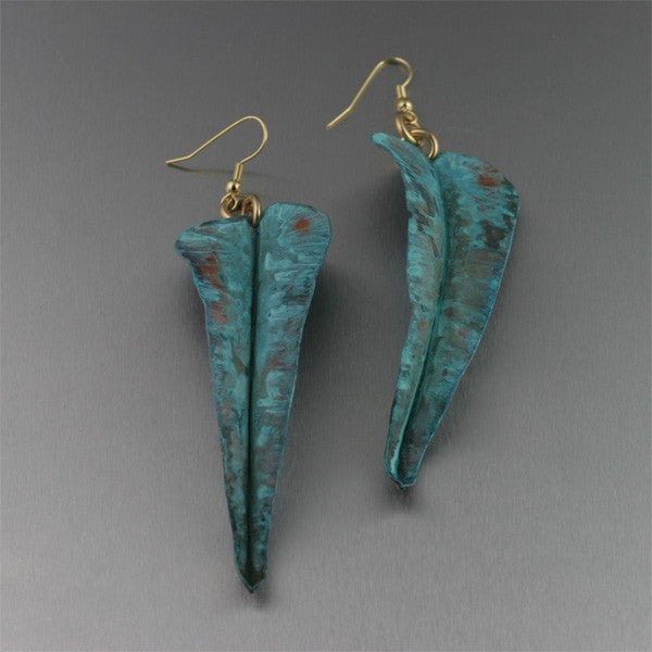 Fold Formed Blue Patinated Leaf Earrings