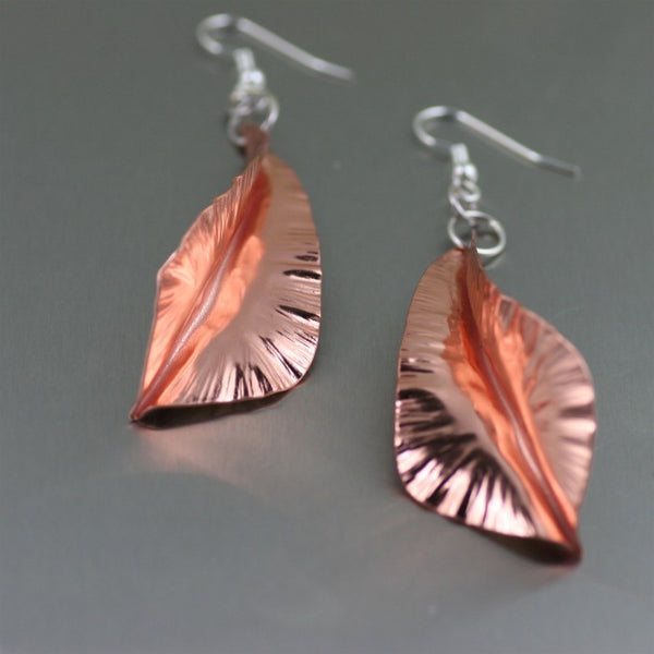 Fold Formed Copper Leaf Dange Earrings – Detail 2