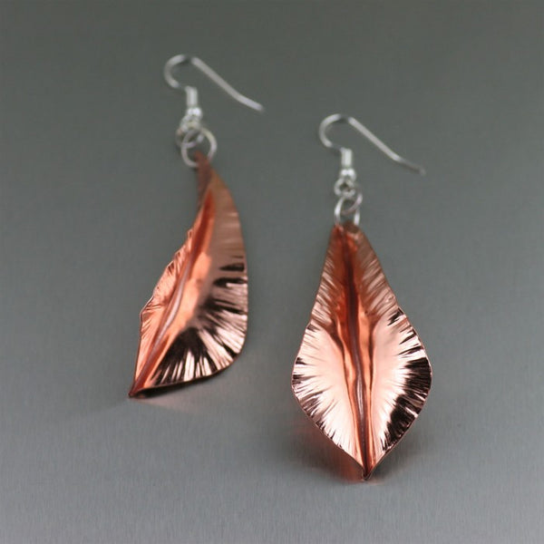 Fold Formed Copper Leaf Dange Earrings – Front View