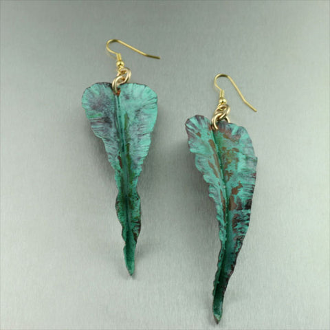 Fold Formed Green Patinated Leaf Earrings