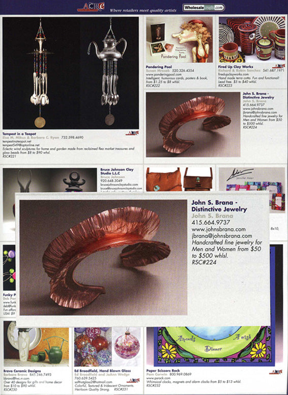 Gift Shop Magazine Features Sea Cliff Collection from John S. Brana