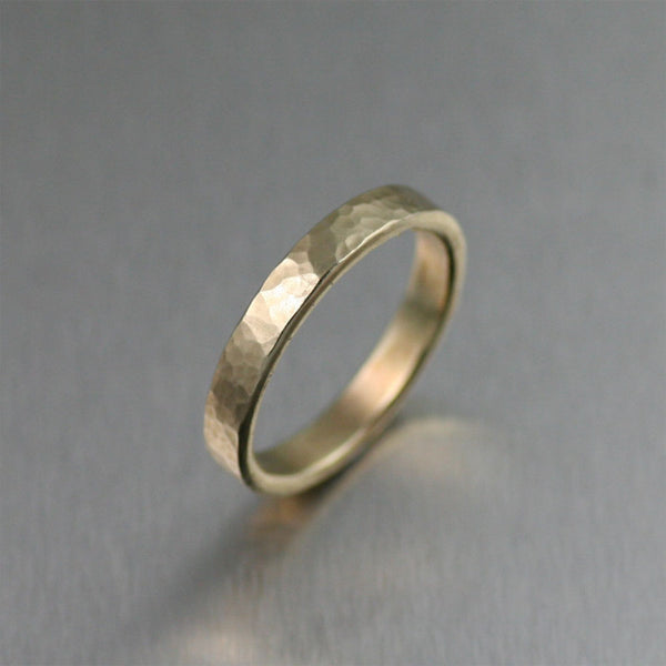 3mm Hammered 14K Gold Handmade Band Ring