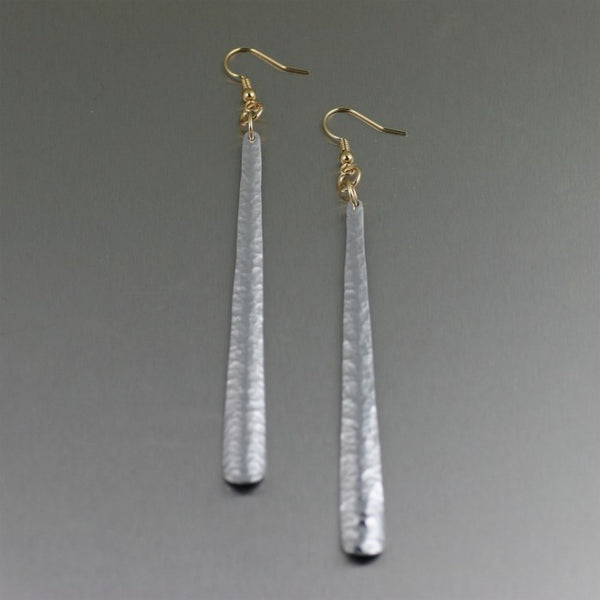 Hammered Aluminum Stiletto Earrings