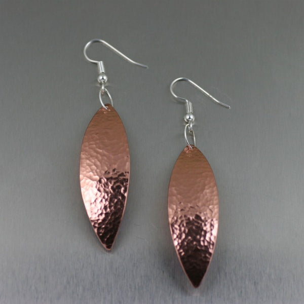Hammered Copper Leaf Drop Earrings