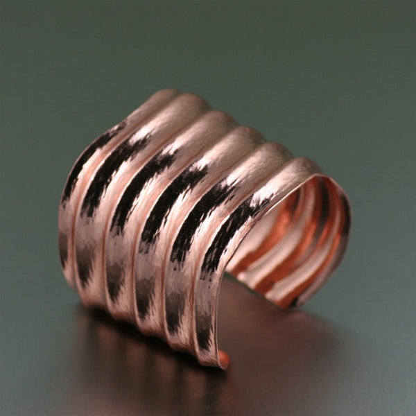 Hammered Copper Wave Cuff Bracelet – Left View