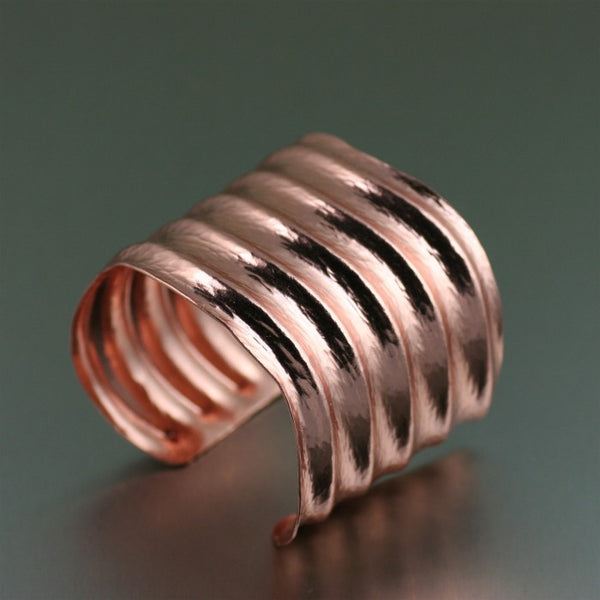 Hammered Copper Wave Cuff Bracelet – Right View