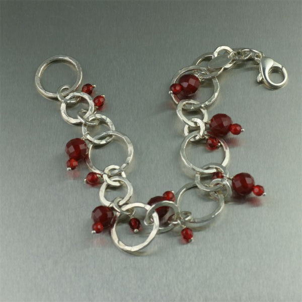 Hammered Fine Silver Bracelet with Carnelian