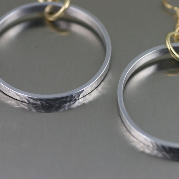 Hammered Hoop Aluminum Earrings – Detail