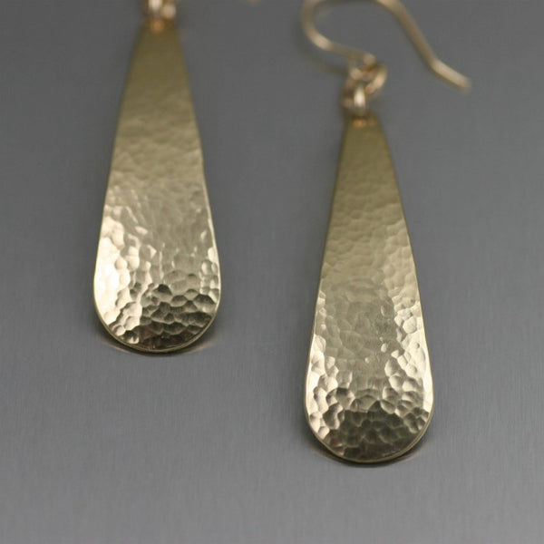 Hammered Nu Gold Brass Long Tear Drop Earrings – Detail