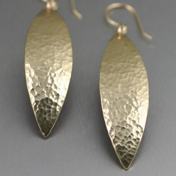 Hammered Nu Gold Brass Leaf Earrings – Detail