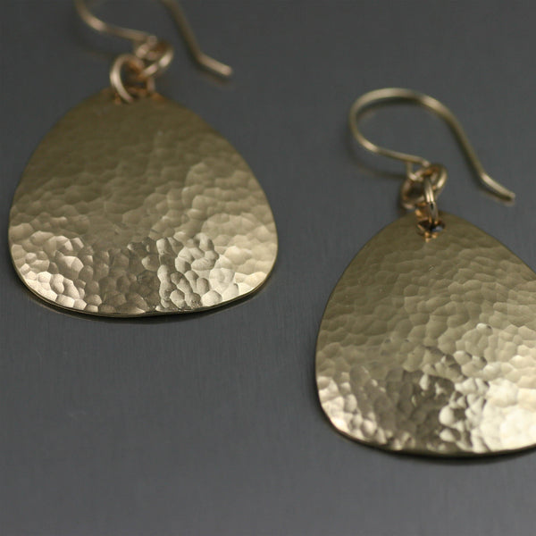 Hammered Nu Gold Brass Medium Tear Drop Earrings – Detail