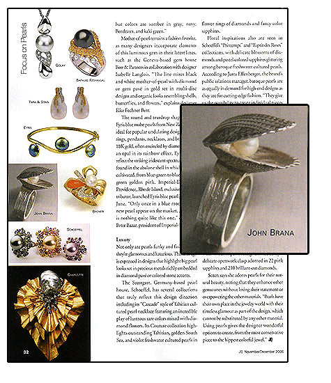JQ - International Jewelry Quorum features Hidden Pearl ring from the Sea Cliff Collection by John S. Brana