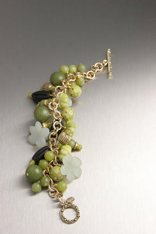 Serpentine, Jade, and Onyx Beaded Gemstone 14K Gold Chainmail Bracelet