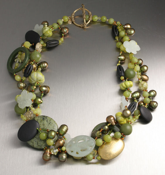 Jade and Onyx Beaded Gemstone Necklace by John S Brana