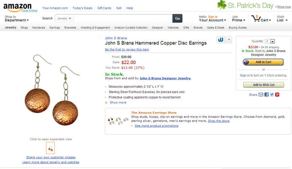John S Brana Hammered Copper Disc Earrings