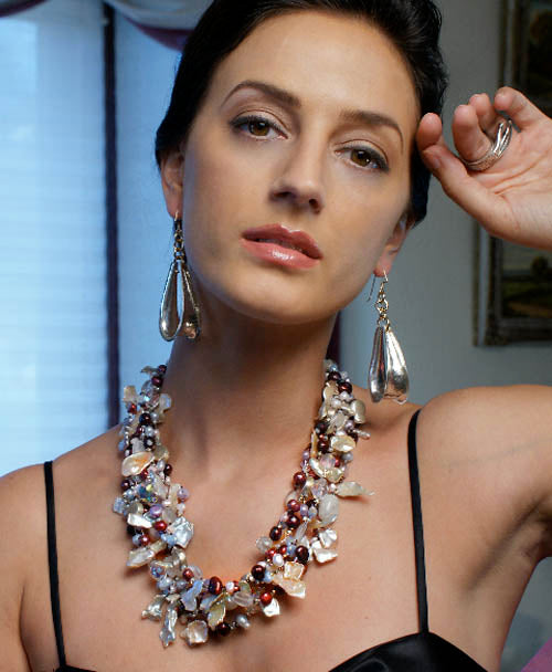 Keishi Cornflake Pearl Neckalce and Sterling Silver Anticlastic Earrings by San Francisco jewelry designer John S Brana