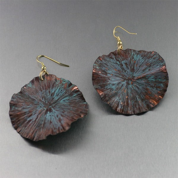 Large Maroon Patinated Lily Pad Earrings