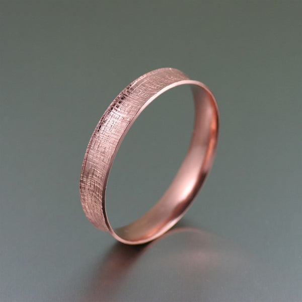 Linen Copper Bangle Bracelet – Left Side View