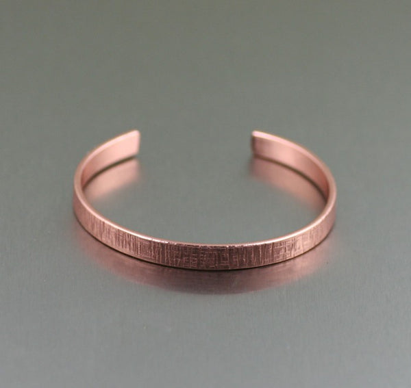Linen Copper Cuff Bracelet – Thin – Laying Flat View