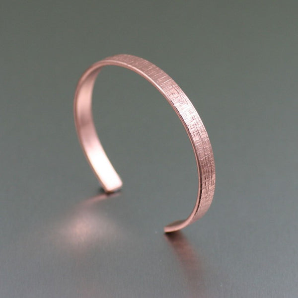 Linen Copper Cuff Bracelet – Thin – Right View