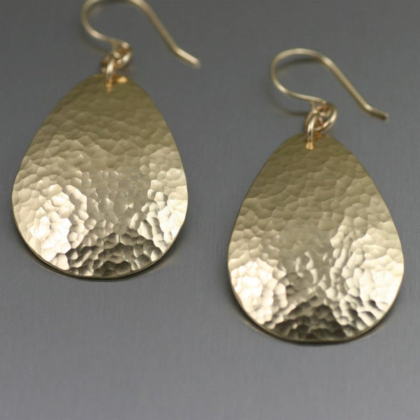 Medium Hammered Nu Gold Brass Tear Drop Earrings – Detail