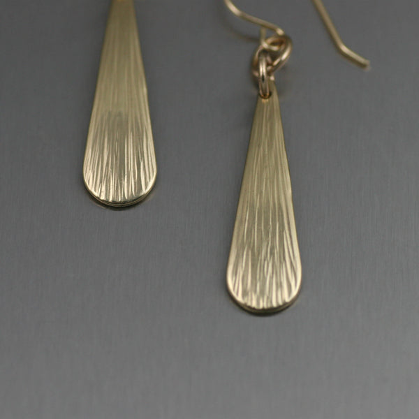 Mini Chased Nu Gold Brass Tear Drop Earrings - Detail