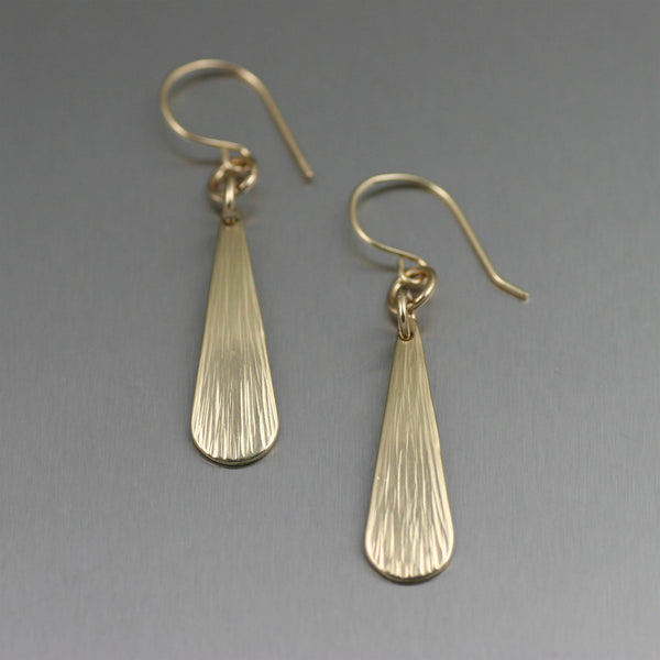 Mini Chased Nu Gold Brass Tear Drop Earrings