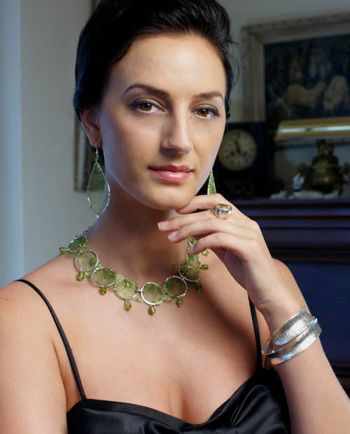 Italian Mesh Metal Ribbon Necklace and Earrings set with Peridot by San Francisco jewelry designer John S Brana